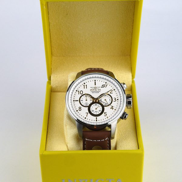 Invicta 16010 S1 Rally Stainless Steel Watch with Brown Leather Band_01