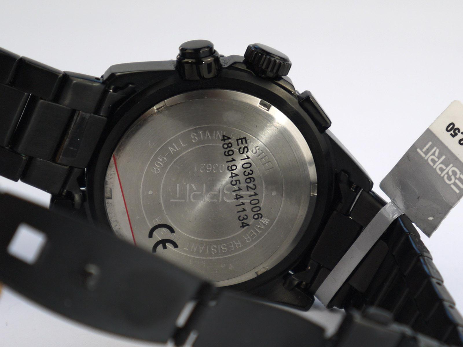 Esprit Es103621006 Black Ip Chronograph Watch ⋆ High
