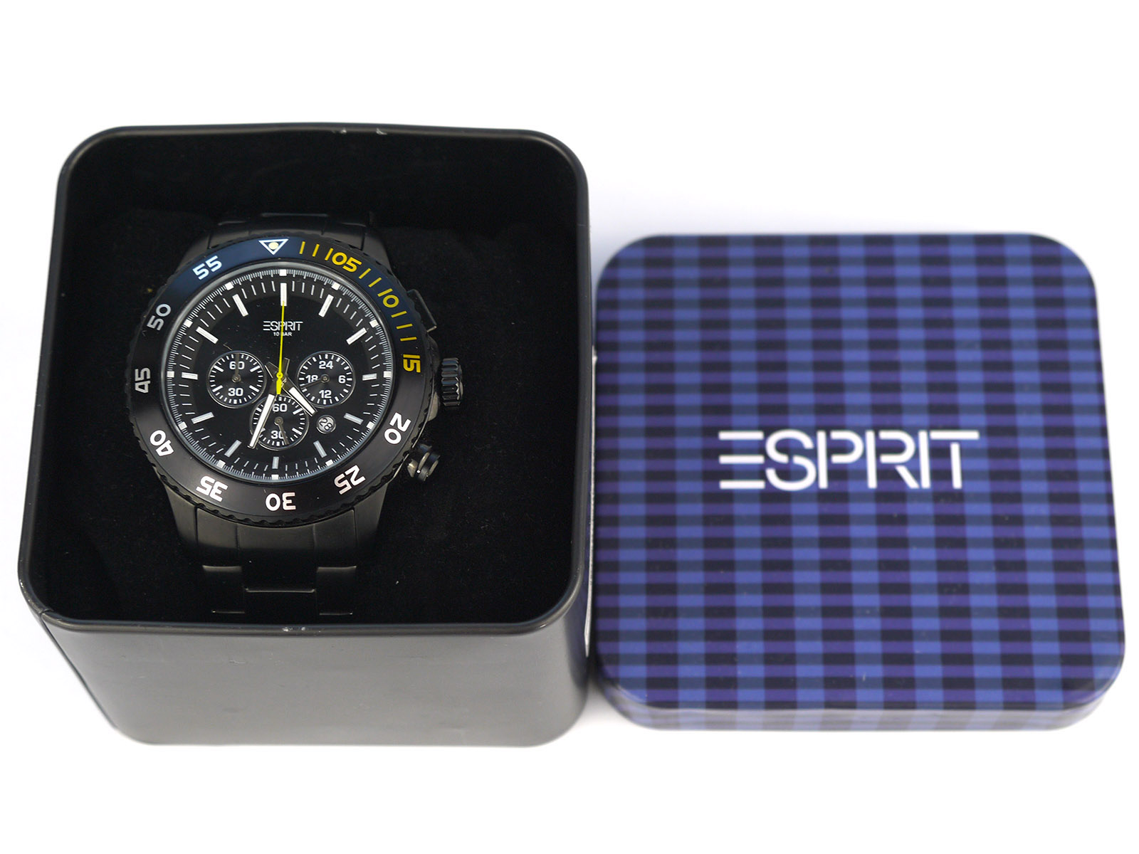 Esprit Es103621006 Black Ip Chronograph Watch ⋆ High