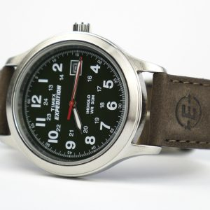 Timex T40051 Expedition Metal Field Olive Dial Brown Leather Strap Watch
