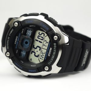 Casio AE2000W-1AV Silver-Tone and Black Multi-Functional Digital Sport Watch