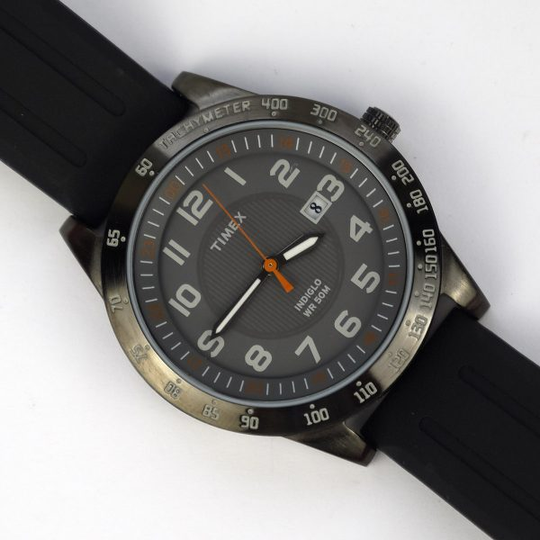 Timex T2N919 Elevated Classics Gunmetal-Tone Watch with Black Resin Band_06