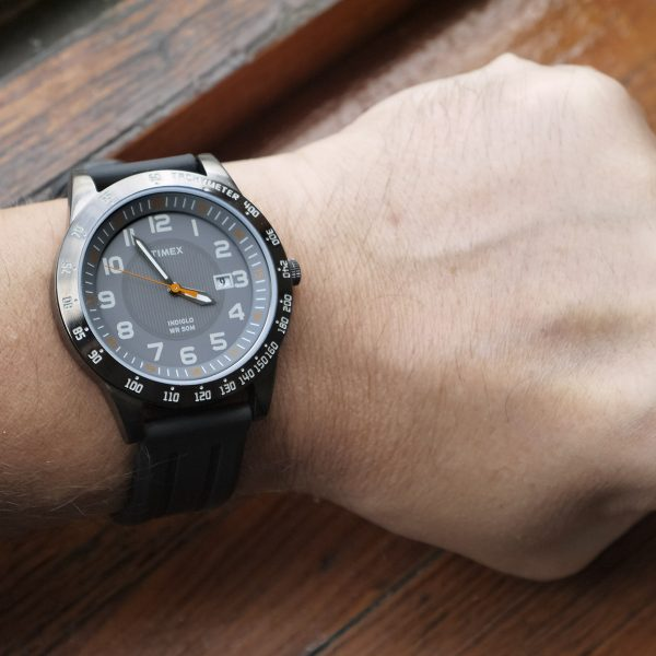 Timex T2N919 Elevated Classics Gunmetal-Tone Watch with Black Resin Band_09
