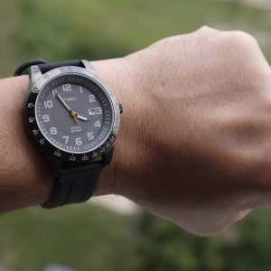 Timex T2N919 Elevated Classics Gunmetal-Tone Watch with Black Resin Band