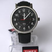 Timex T2P219AB Originals Silver-Tone Watch with Black Leather Band