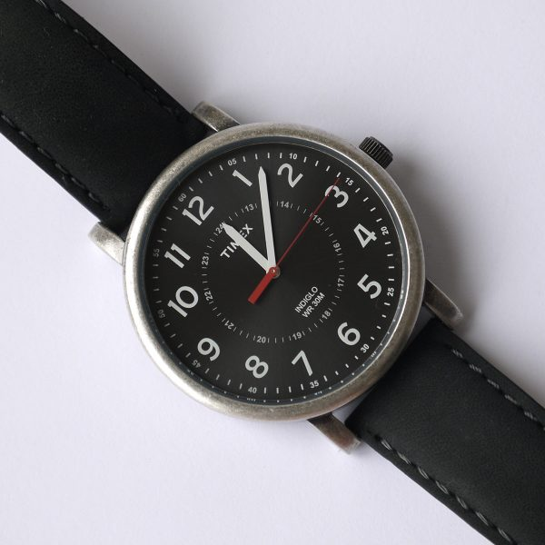 Timex T2P219AB Originals Silver-Tone Watch with Black Leather Band_05