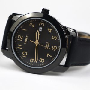 Timex Tw2R29800 Easy Reader Black Leather Strap Watch