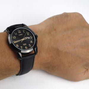 imex Tw2R29800 Easy Reader Black Leather Strap Watch