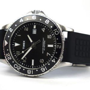 Timex T2P029 Men's Analogue Quartz Black Rubber Strap Black Dial Watch