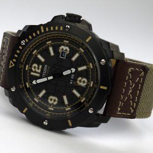Citizen BM7279-03E Eco-Drive Beige Brown Nylon Strap Black Dial Watch