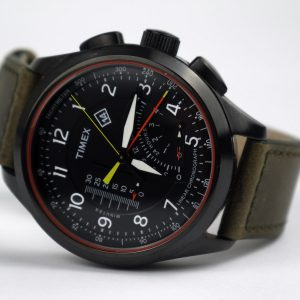 Timex T2P276DH Linear Chronograph Olive Leather Band Watch