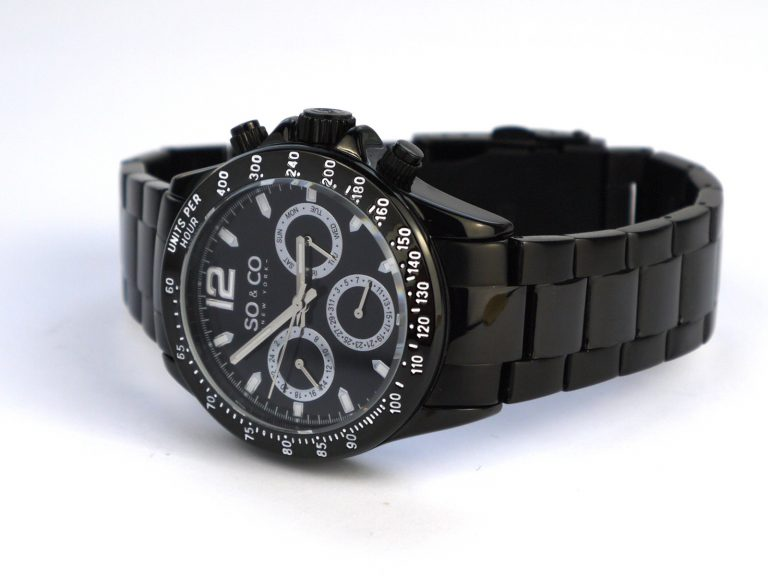SO&CO New York Men's 5001.3 Monticello Black Bracelet Watch