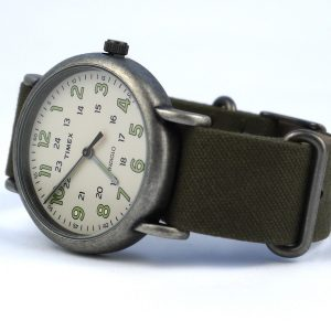 Timex Tw2P85900 Weekender Oversized Vintage-Style Canvas Khaki Watch
