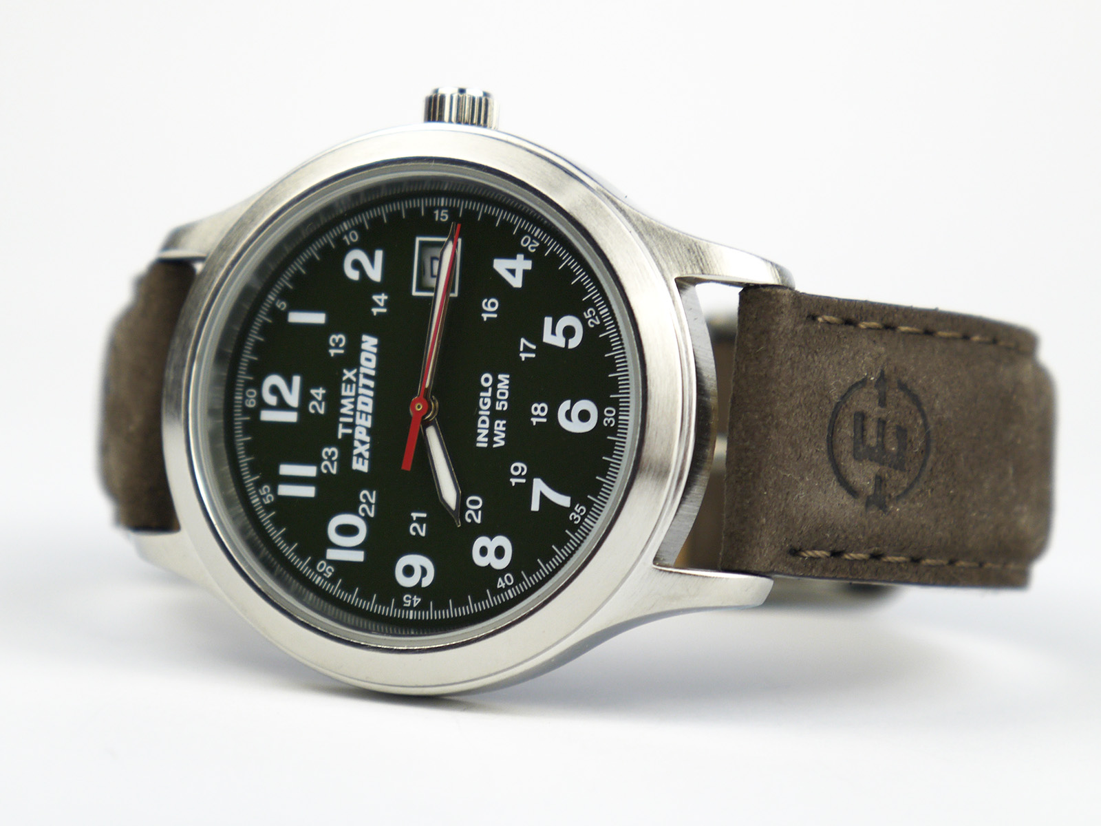 9d7ff6ea1c0f Timex T40051 Expedition Metal Field Olive Dial Brown Leather Strap Watch
