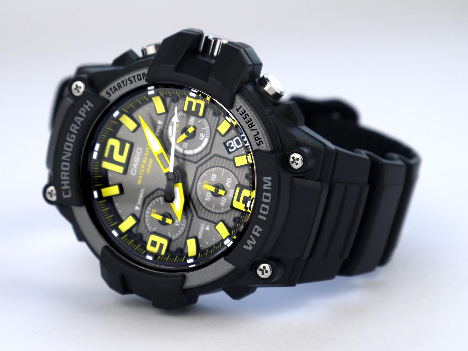Casio MCW-100H-9AV Heavy Duty-Design Chronograph Black Yellow Watch