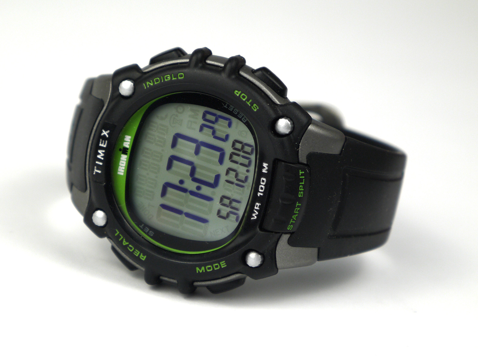 Timex TW5M03400 Ironman Classic 100 Full-Size Black Green Resin Strap Watch