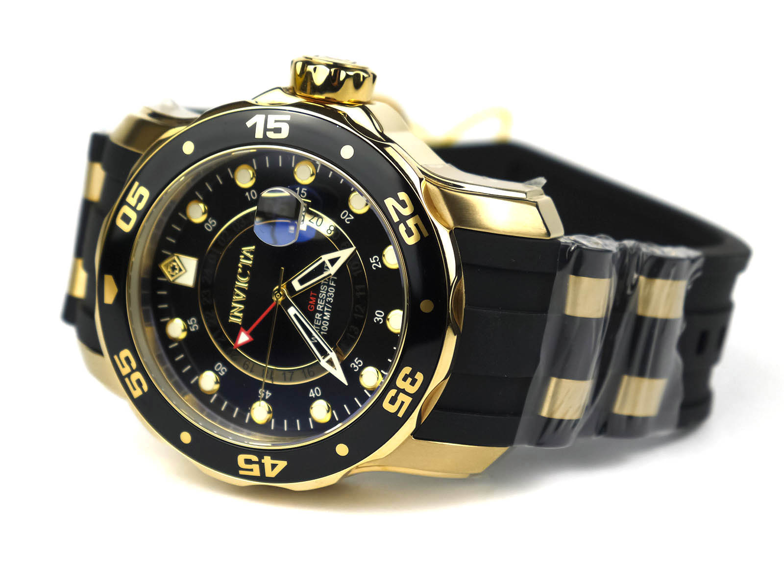 8a2d83cb75b3 Invicta 6991 Pro Diver Collection GMT 18k Gold-Plated Stainless Steel Watch  with Black Band