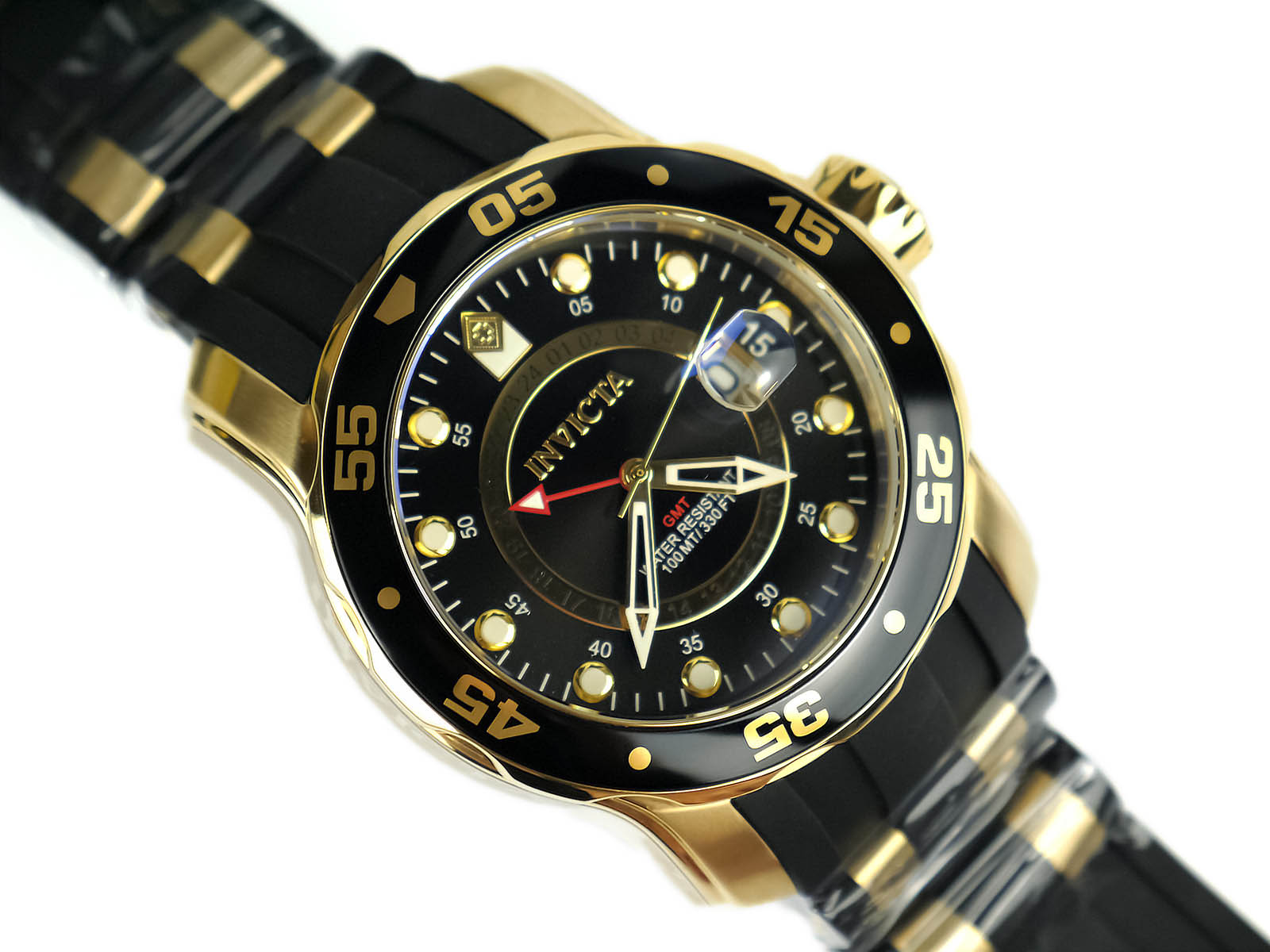 fbb83d381217 Invicta 6991 Pro Diver Collection GMT 18k Gold-Plated Stainless Steel Watch  with ...