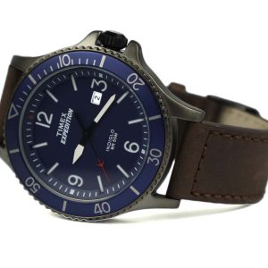 Timex TW4B10700 Expedition Ranger Brown Gunmetal Blue Leather Strap Watch
