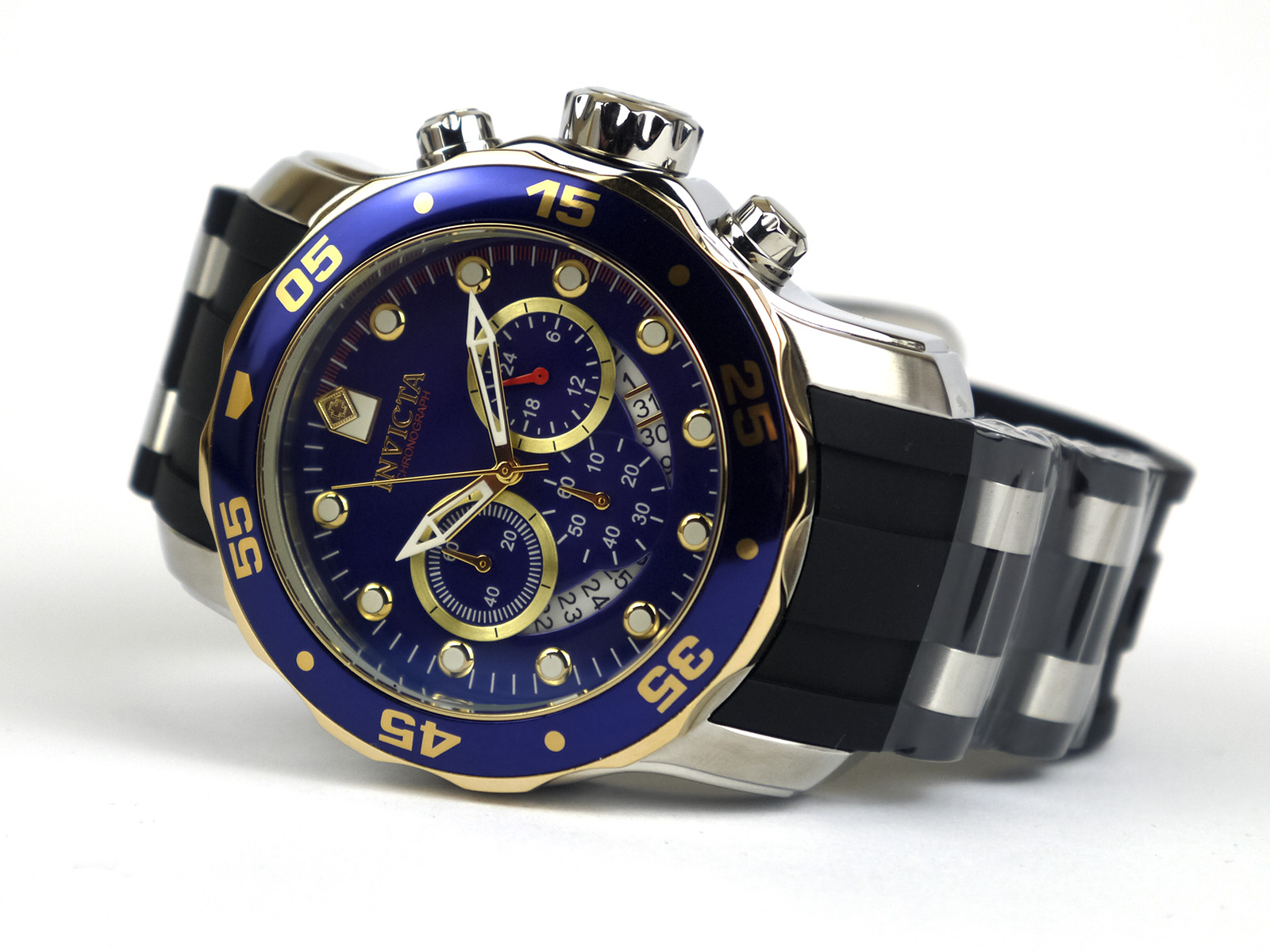 Invicta 22971 Pro Diver Chronograph Blue Dial Steel-Rubber Watch