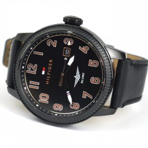 ommy Hilfiger 1791314 Quartz Stainless Steel and Leather Black Casual Watch