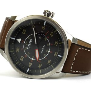 Citizen AW1361-10H Eco-Drive Sport Stainless Steel Watch with Brown Leather Band