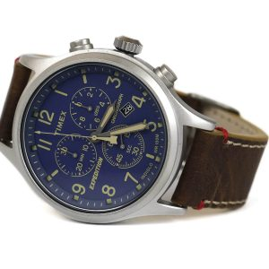 Timex TwC013900 Expedition Scout Chrono Blue Dial Brown Leather Strap Watch