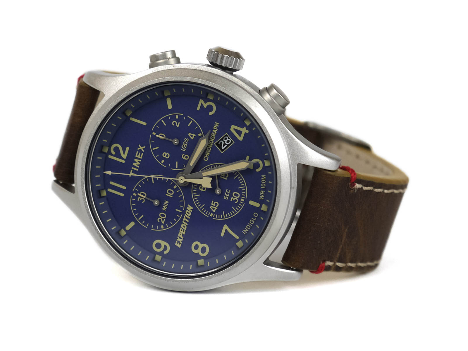 a5511071c Timex TwC013900 Expedition Scout Chrono Blue Dial Brown Leather Strap Watch
