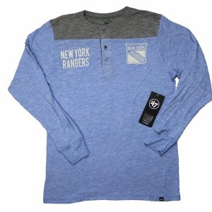 47 Brand NHL New York Rangers Henley Long Sleeve Tee Olympic Blue
