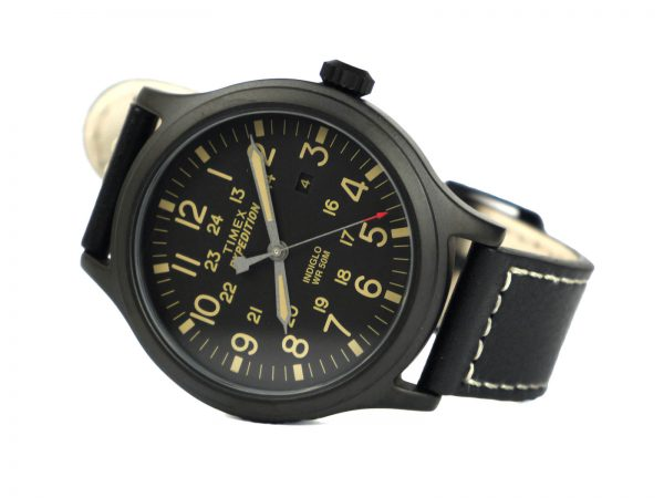 Timex Tw4B11400 Expedition Black Leather Band Watch
