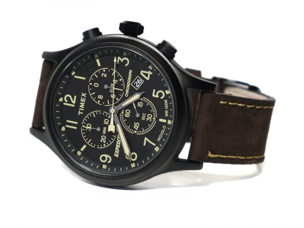 Timex TwC013000 Expedition Scout Chronograph Leather Strap Watch
