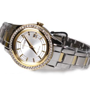 Citizen FE1124-58A womens Eco-Drive Stainless Steel with Crystal Accents and Date watch