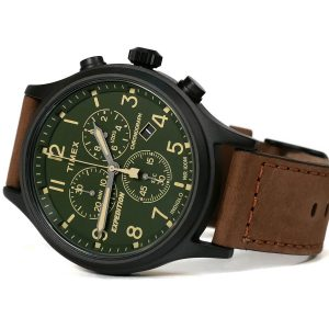 Timex TW4B15800 Expedition Scout Chrono Black Case Green Dial Brown Leather Strap Watch