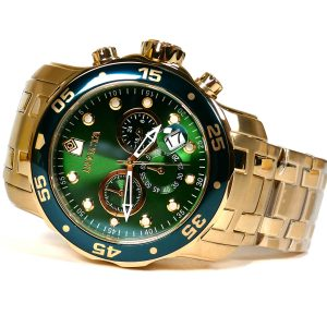 Invicta 0075 Pro Diver Chronograph 18k Gold-Plated Green Dial Watch