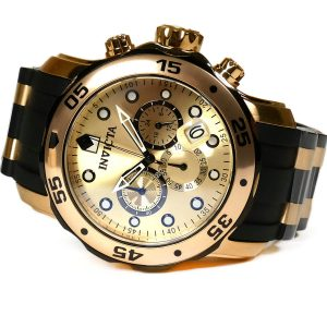 Invicta 17885 Pro Diver Stainless Steel Gold Tone Watch with Polyurethane Band