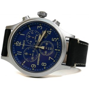 Timex Tw4B12400 Expedition Blue Dial Black Leather Strap Watch