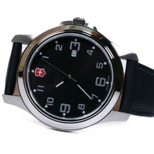 Victorinox 26052CB Garrison Elegance Black Dial Leather Strap Watch