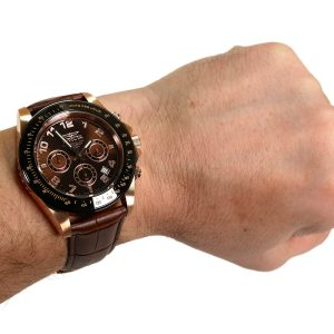 Invicta 10712 Speedway Gold Ion-Plated Stainless Steel Watch with Brown Leather Band