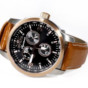 Invicta 7340 Signature II Multi-Function Black Dial Rose Gold-tone Brown Leather Mens Watch