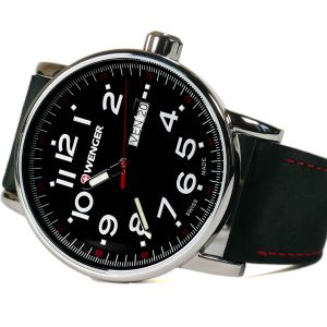 Wenger 010341103 Attitude Black Dial Leather Strap Watch