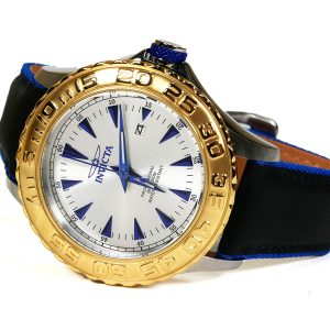 Invicta 12615 Pro Diver Stainless Steel Watch With Black-Blue Leather Strap