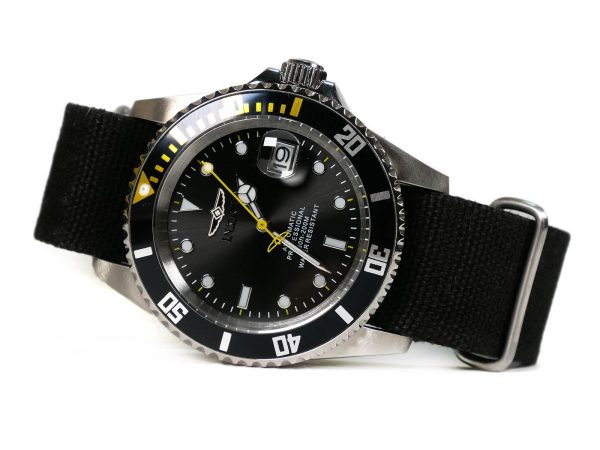 Invicta 27624 Automatic Japan Movement Black Canvas Strap Watch