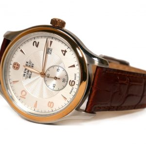 Wenger 79313C Swiss Made Silver Dial Brown Leather Strap Mens Watch