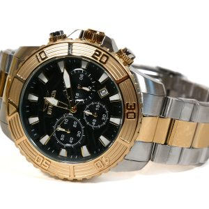 Invicta 24003 Pro Diver Black Dial Gold Bezel Watch Two Tone Bracelet