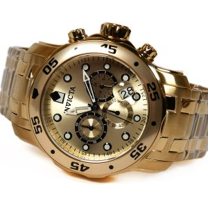 Invicta 0074 Pro Diver Analog Japanese Quartz 18k Gold-Plated Stainless Steel Watch