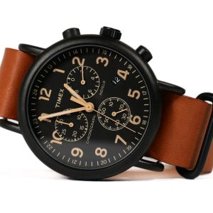 Timex Tw2P97500 Weekender Black IP Case Chronograph Watch