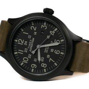 Timex TW4B06700 Expedition Scout Military Leather Band Watch