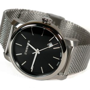 Wenger 011041140 Urban Vintage Black Dial Stainless Steel Watch